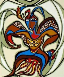 Eagle dancer painting by Daphne Odjig